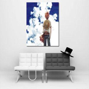 One Piece Pirate Straw Hat Luffy Blue Sky Portrait 1pc Canvas