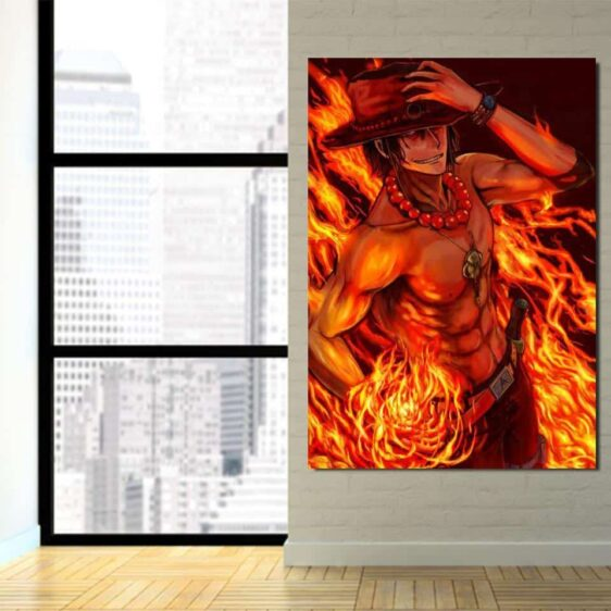One Piece Portgas D Ace Fire Fist Power Orange 1pc Wall Art