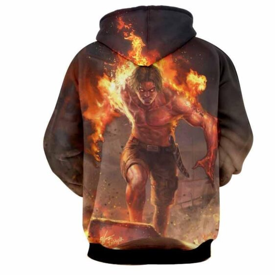 One Piece Portgas D. Ace Fire Fist Revenge Angry Realistic Design Hoodie