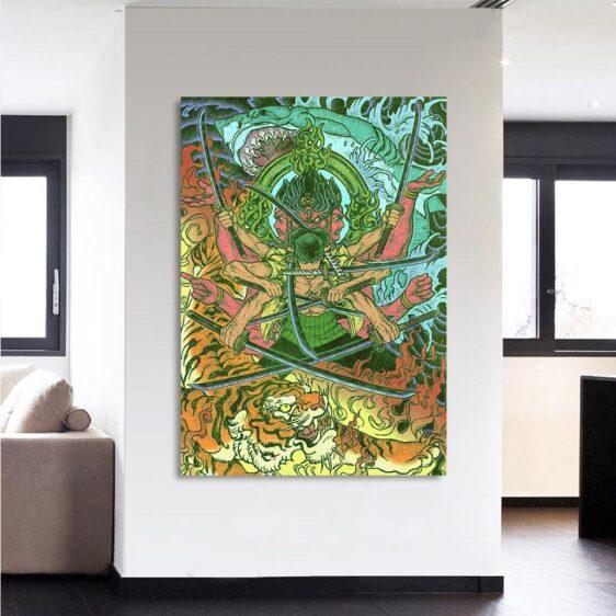 One Piece Roronoa Zoro Epic Asura God Green 1pc Canvas Print