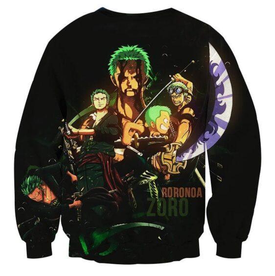 One Piece Roronoa Zoro Kid Grown Up Swordman Black Sweatshirt