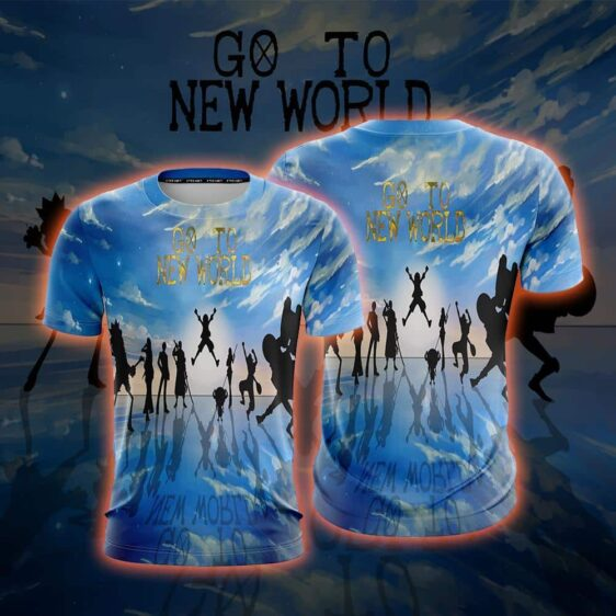 One Piece Straw Hat Crew Silhouette Go To New World T-Shirt