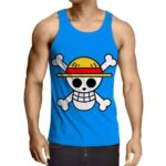 One Piece Straw Hat Pirate Logo Awesome Blue Tank Top