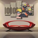 Powerful Naruto Uzumaki Shippuden Cool Brown 5pcs Wall Art