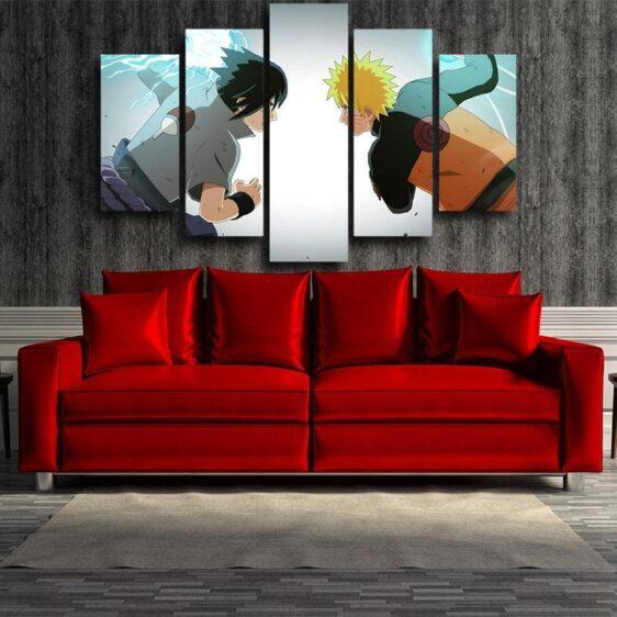Sasuke Chidori And Naruto Rasengan Battle 5pcs Canvas Print