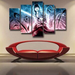 Sasuke Uchiha Powerful Ninja Art Work Printed 5pcs Wall Art