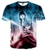 Sasuke Uchiha Powerful Ninja Art Work Printed Anime T-Shirt