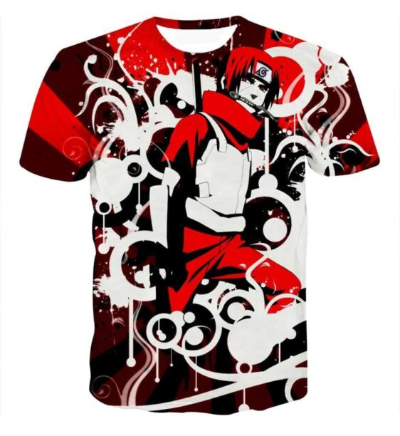 Sasuke Uchiha Weapon and Armor Ready for Fight Trendy Red T-shirt