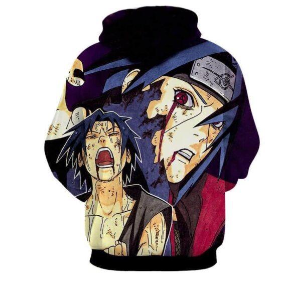 Uchiha Brothers Sasuke Itachi Color Manga Sketch Hoodie