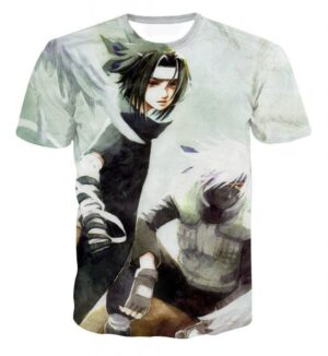 Vintage Style Sasuke and Kakashi Master Impressive Power Trendy T-shirt
