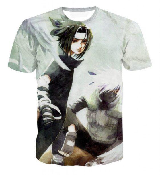 Vintage Style Sasuke and Kakashi Master Impressive Power Trendy T-shirt