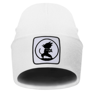 DBZ Kid Goku Kamehameha Attack Silhouette White Beanie