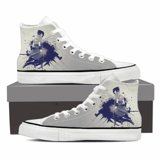 Sasuke Uchiha Art Work Dope Anime Design Gray Sneakers Shoes
