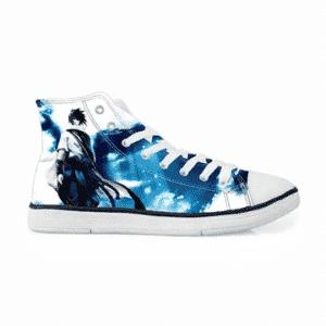 Sasuke Uchiha Tie Dye Style Naruto Abstract Blue Stylish Sneakers Converse Shoes