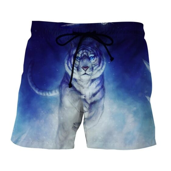 Fantasy Tiger With Flying Owl Magical Night Blue Boardshorts