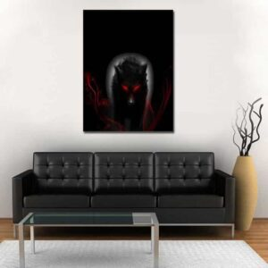 Killer Black Wolf Scary Red-Eyes Dark Aura 1PC Canvas Print