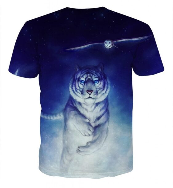 Fantasy Tiger With Flying Owl Magical Night Blue T-Shirt