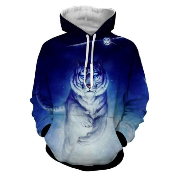 Fantasy Tiger With Flying Owl Magical Night Blue Hoodie