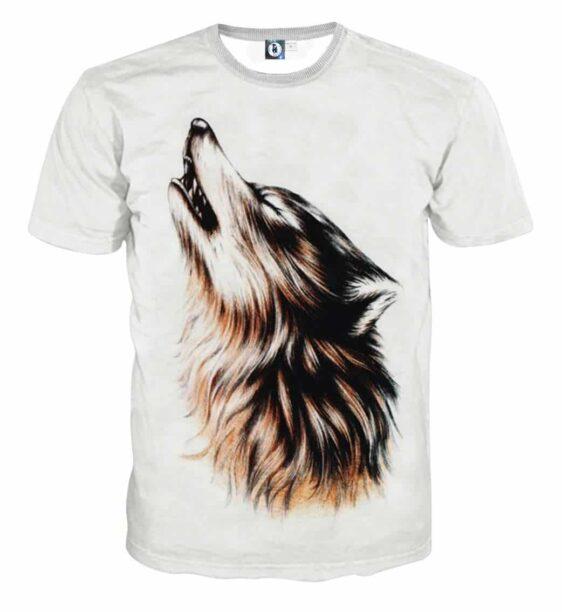 Realistic Wolf Design Art Streetwear White T-Shirt