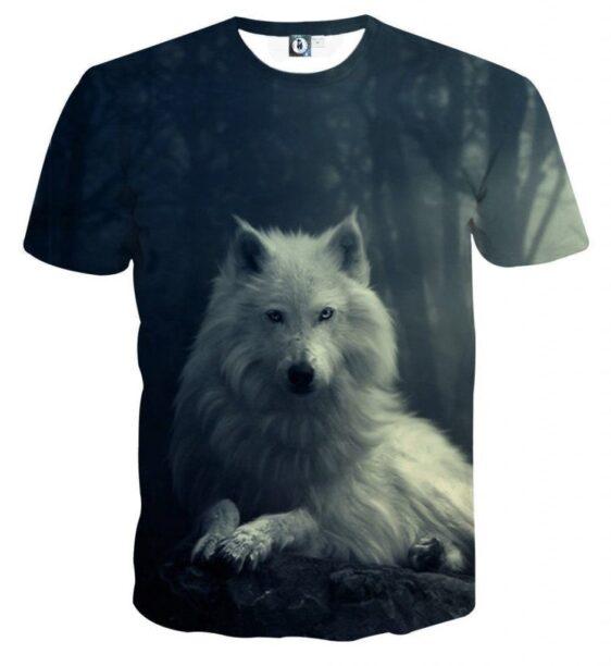Arctic Lone Wolf Animal Theme Full Print Cool Vibe T-Shirt - Superheroes Gears
