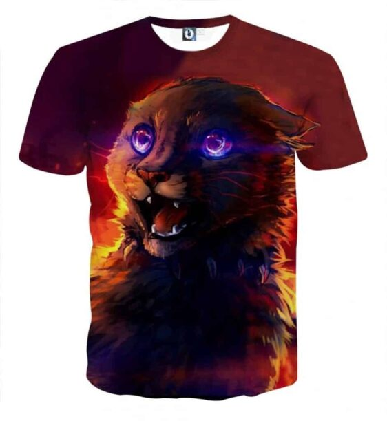 Frightening Cat Eyes Dark Shadow Cool Warm Shade T-Shirt - Superheroes Gears