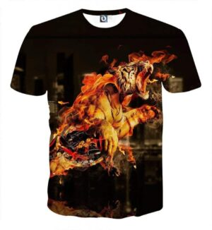 Flaming Tiger Attack Powerful Impressive Design T-Shirt - Superheroes Gears