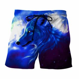 Wolf Side View Look Powerful Aesthetic Blue Boardshorts