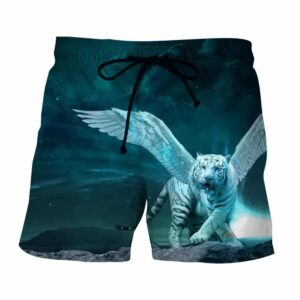 Majestic Tiger With Wings Fantasy Vibrant Blue Boardshorts