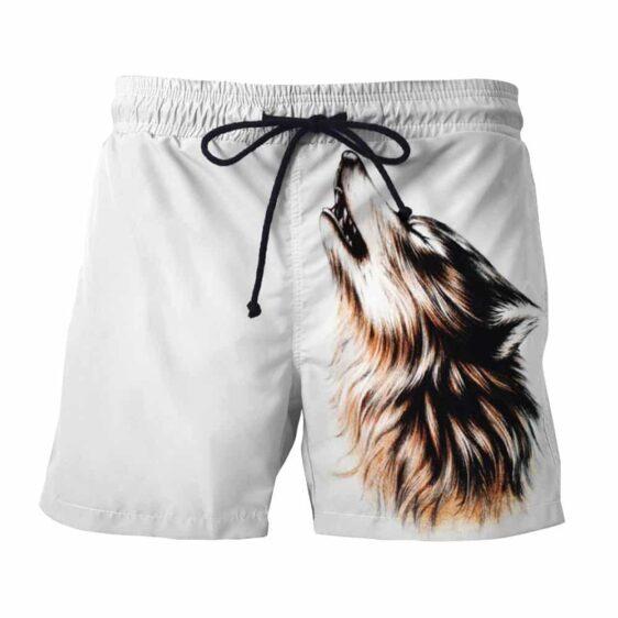 Realistic Wolf Design Artistic Streetwear White Boardshorts