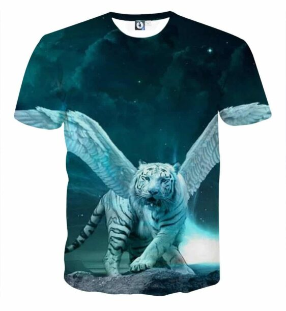 Majestic Tiger With Wings Fantasy Style Vibrant Blue T-Shirt