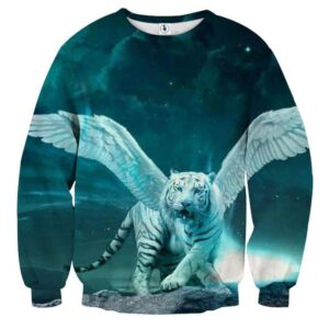 Majestic Tiger With Wings Fantasy Vibrant Blue Sweatshirt