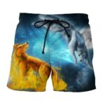 Fantasy Fiery Wolf And Cold Blue Wolf Galaxy Boardshorts