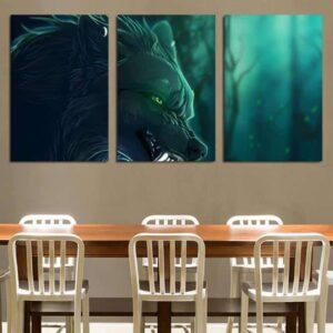Magical Wolf With Green Eyes Eerie Forest 3PCS Canvas Prints