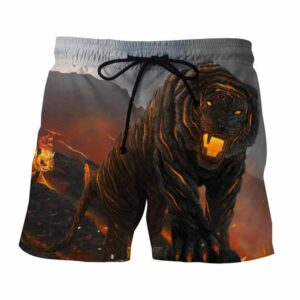 Powerful Fiery Tiger With Hot Lava Fashionable Boardshorts