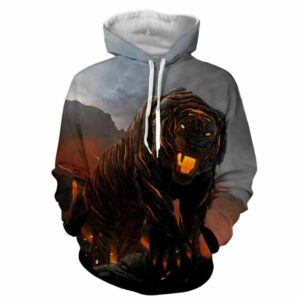 Powerful Fiery Tiger With Hot Lava Fashionable Hoodie