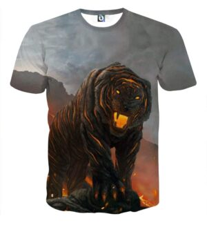 Powerful Fiery Tiger With Hot Lava Fashionable T-Shirt