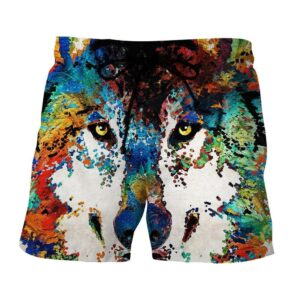 Stunning Wolf Inspired Abstract Art Colorful Boardshorts