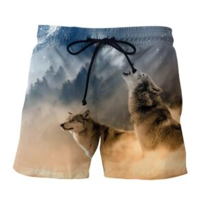 Two Hunting Wolves On A Frosty Forest Stunning Boardshorts