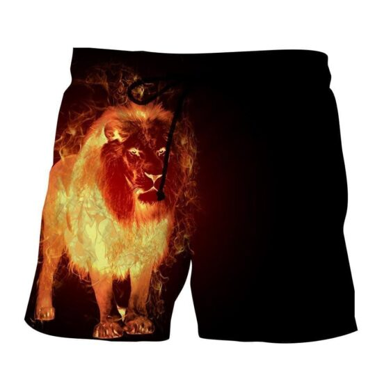 Fantasy Lion Flaming Inferno Creature Dope Design Shorts - Superheroes Gears