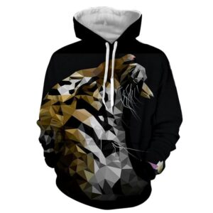 Artistic Dope Tiger Polygon Style Art Stylish Black Hoodie