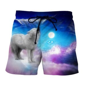 Cute Wolf Full Moon Vibrant Pink And Blue Colors Boardshorts