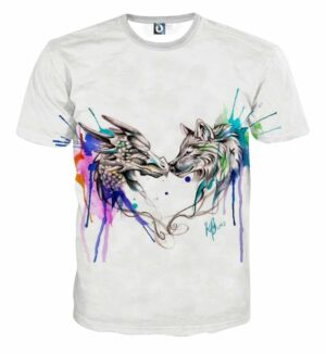 Amazing Lovely Wolf Art Colorful Splatter Trendy T-Shirt