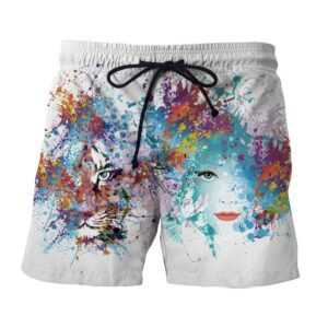Beautiful Lady And Tiger Artistic Color Splatter Boardshorts