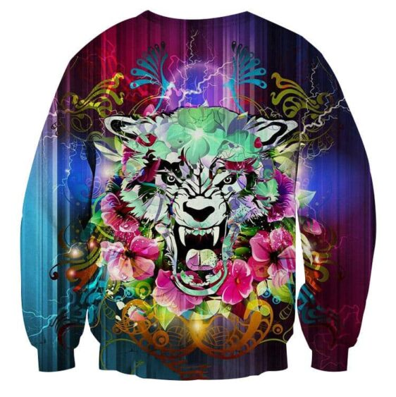 Scary Tiger Showing His Sharp Teeth Flowery Design Sweatshirt