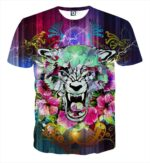 Scary Tiger Showing His Sharp Teeth Flowery Design T-Shirt