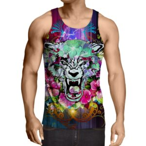Scary Tiger Showing His Sharp Teeth Flowery Design Tank Top