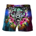 Scary Tiger Showing His Sharp Teeth Flowery Epic Boardshorts