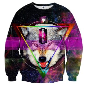 Angry Wolf With Blade Design Aesthetic Galaxy Sweatshirt
