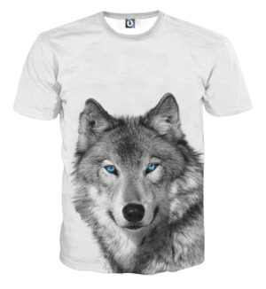 Realistic Art Of Wolf With Blue Eyes Fashionable T-Shirt