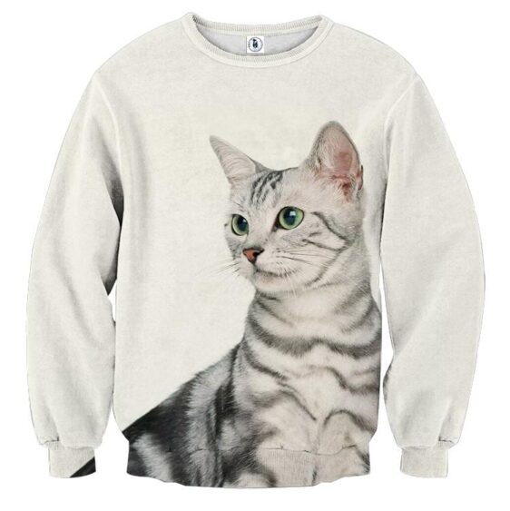 Cat Portrait White Background Cool Simple Design Sweater - Superheroes Gears